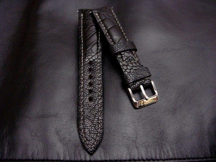 Satin-Black-Ostrich-Leg-skin-watch-strap