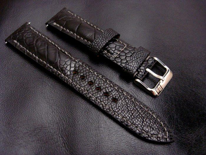 Satin-Black-Ostrich-Leg-skin-watch-strap-1