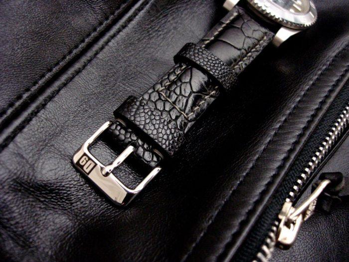 Satin-Black-Ostrich-Leg-skin-watch-strap-4