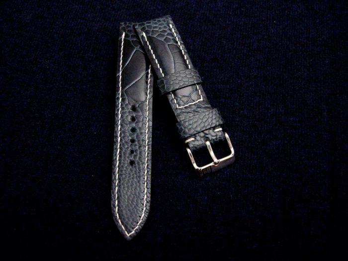 Monaco-Blue-watch-strap-Ostrich-Leg-skin-for-22mm-lug-width