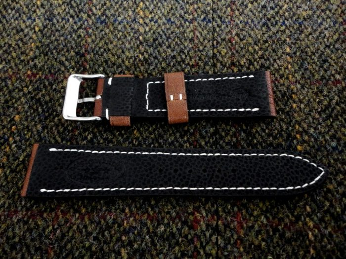 Safari-Tan-African-Goat-Leather-watch-strap-with-black-Kangaroo-gloving-leather-lining