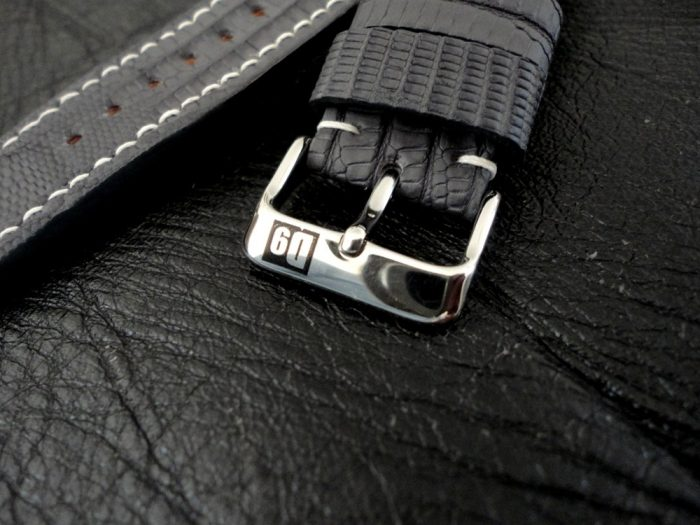SuperMatte-Grey-Teju-Lizard-watch-strap-with-D9-Logo-Pin-Buckle