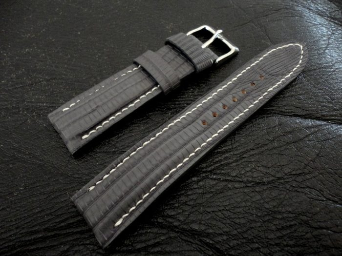 SuperMatte-Grey-Teju-Lizard-watch-strap-1