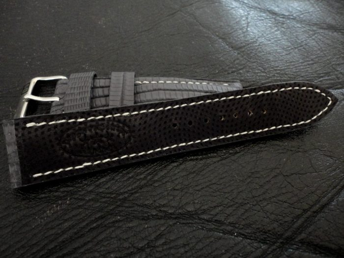 SuperMatte-Grey-Teju-Lizard-watch-strap-with-durable-black-Kangaroo-lining