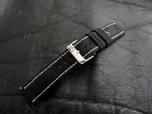 SuperMatte-Carbon-Black-Ostrich-Leg-skin-watch-strap for-22-mm-width