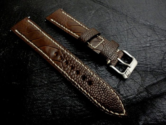 Cigar-Brown-Ostrich-Leg-skin-watch-strap-for-20mm-Lug-Width