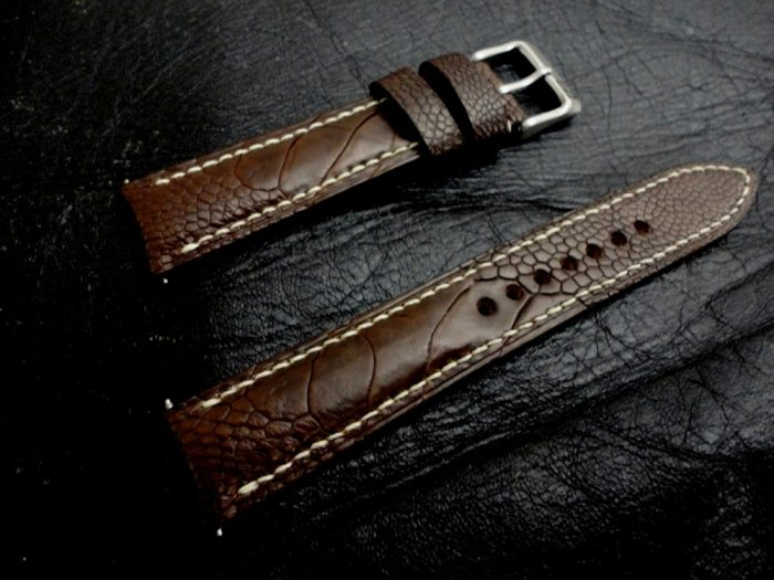 Cigar-Brown-Ostrich-Leg-skin watch-strap for-20mm-Lug-Width 2