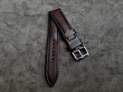 Old English dark Brown Leather Watch strap-Goat skin