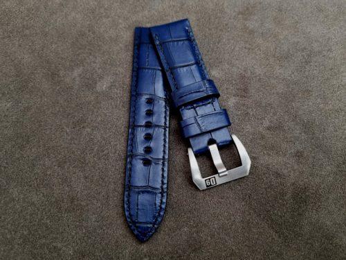 Blue Alligator Embossed Calfskin watch strap for 24mm lug width